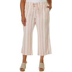 Per Se Plus Multi Vertical Striped Print Linen Capris