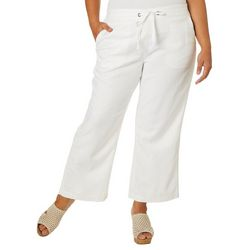 Per Se Plus Solid Linen Pull On Ankle Pants