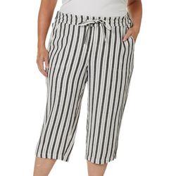 Per Se Plus Stripe Print Linen Drawstring Capris