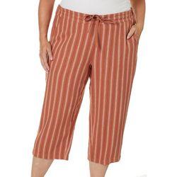 Per Se Plus Stripe Print Linen Pull On Drawstring Capris