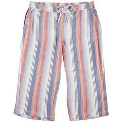 Per Se Plus Ombre Stripe Linen Cropped Pants