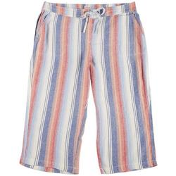 Plus Ombre Stripe Linen Cropped Pants