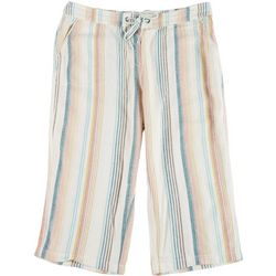 Per Se Plus Rainbow Stripe Fabric Cropped Pants