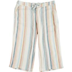 Plus Rainbow Stripe Fabric Cropped Pants