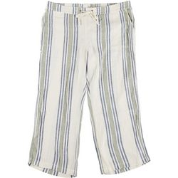 Per Se Plus Two-Tone Striped Fabric Cropped Pants