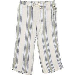 Per Se Plus Two-Tone Striped Fabric Cropped Pants