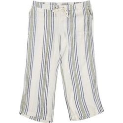 Plus Two-Tone Striped Fabric Cropped Pants