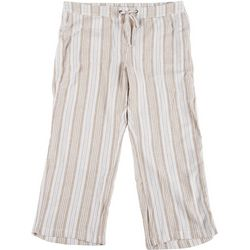 Per Se Womens Colorful Vertical Striped Linen Pants