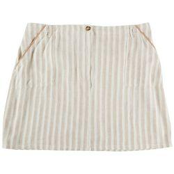 Per Se Plus Striped Linen Skirt