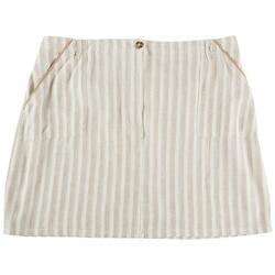 Plus Striped Linen Skirt
