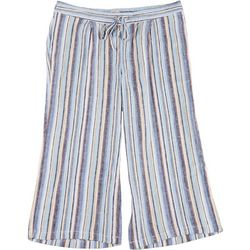 Per Se Plus Asymmetrical Striped Fabric Cropped Pants