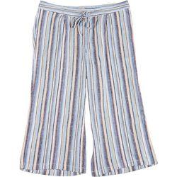 Per Se Plus Asymmetrical Striped Fabric Cropped Pants