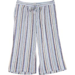 Plus Asymmetrical Striped Fabric Cropped Pants
