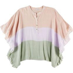 Kaktus Plus Colorblock Ruffle Short Sleeve Poncho Top