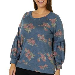 Como Blu Plus Floral Print Balloon Sleeve Top