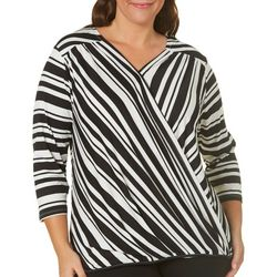 Como Blu Plus Stripe Print Faux Wrap Top