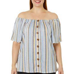 Como Blu Plus Striped Faux Button Down Short Sleeve Top