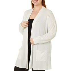 Como Blu Plus Solid Open Front Pocket Long Sleeve Cardigan