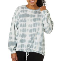 Como Blu Plus Tie Dye Print Tie Front Long Sleeve Top