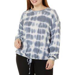 Como Blu Plus Tie Dye Print Tie Front Long Sleeve Top