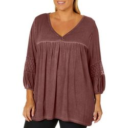 Fred David Plus Mineral Wash Lace Sleeve Top