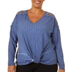 Como Blu Plus Solid Lace Detail Twist Front Top