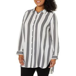 Como Blu Plus Vertical Stripe Button Down Tunic Top