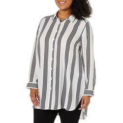 Como Blu Plus Vertical Stripe Button Down Tunic Top