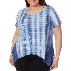 Plus Tie Dye Crochet Trim Short Sleeve Top