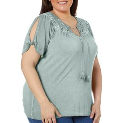 Como Blu Plus Solid Tied Neckline Cold Shoulder Top