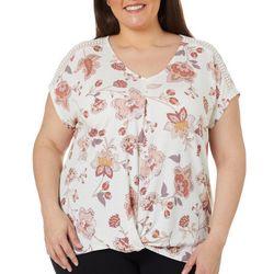 Plus Floral Twist Front V-Neck Short Sleeve Top
