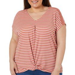 Como Blu Plus Striped Twist Front V-Neck Short Sleeve Top