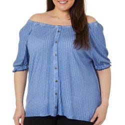 Como Blu Plus Subtle Striped Faux Button Down Top