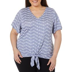 Como Blu Plus Puff Print Chevron Tie Front Short Sleeve Top