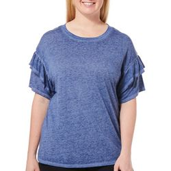 Como Blu Plus Heathered Ruffle Sleeve Top