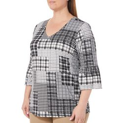 Como Blu Plus Plaid Houndstooth Patchwork Ruffle Sleeve Top