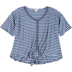 Como Blu Womens Plus Lace Trim Striped Tie Top