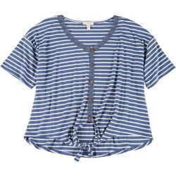 Plus Lace Trim Striped Tie Short Sleeve Top