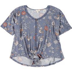 Womens Plus Lace Trim Floral Tie Top