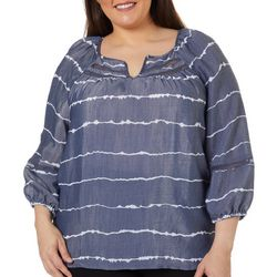Como Blu Plus Galiano Stripe Keyhole Neck Top