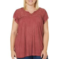 Como Blu Plus Oil Wash Lace Yoke Top