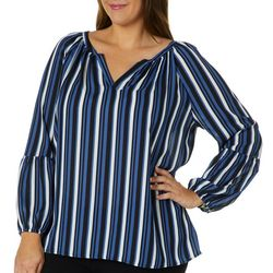 Como Blu Plus Striped Balloon Sleeve Top