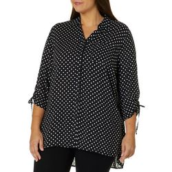 Como Blu Plus Polka Dot Tie Sleeve Tunic Top