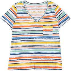 Dept 222 Womens Plus Striped V-Neck Shirt