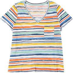 Womens Plus Striped V-Neck Shirt