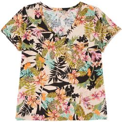 Dept 222 Plus Tropical Floral V-Neck T-Shirt