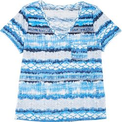 Dept 222 Plus Medallion Stripe V-Neck T-Shirt