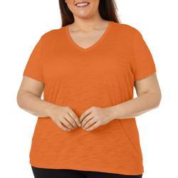 Plus Solid Chest Pocket V-Neck T-Shirt