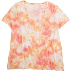 Dept 222 Womens Tie Dye Print V-Neck T-Shirt With Pocket