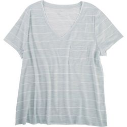 Dept 222 Plus Striped V-Neck T-Shirt